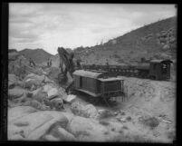 Steam shovel digging path for San Diego-Yuma line of San Diego and Arizona Railroad line, circa 1919