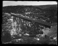 Campo Creek Viaduct on the San Diego and Arizona Railroad, circa 1919