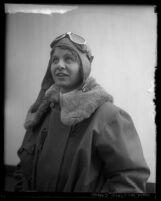 Portrait of pilot Helen Sheridan in 1929 wearing flight jacket and goggles in Los Angeles, Calif