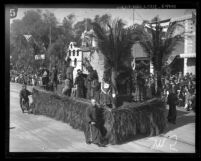 """San Gabriel Mission"" float in the Tournament of Roses Parade, Pasadena, 1924"