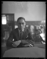 Timothy S. Yatko sitting in courtroom in Los Angeles, Calif., 1925