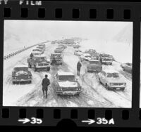 Stalled traffic during snow storm along Interstate 5 near Newhall, Calif., 1974