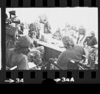 Senator Alan Cranston meeting with American Veterans Movement members in his office in Westwood, Calif., 1974