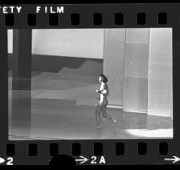 Male streaker running across stage at the 47th annual Academy Awards in Los Angeles, Calif., 1974