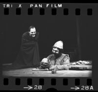 "Avery Schreiber and Stacy Keach in production of ""Hamlet"" at the Mark Taper Forum in Los Angeles, Calif., 1974"