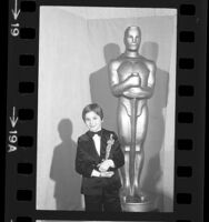 "Tatum O'Neal, holding her Oscar for ""Paper Moon"" at the 47th Annual Academy Awards, Calif., 1974"