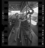 Louise Rocke, first woman member of Southern California ironworkers union on the job in Santa Monica, Calif., 1974