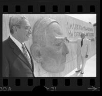 David Herrera and Joseph Friedkin standing before the Benito Juarez memorial at El Paso-Juarez border, Texas, 1974