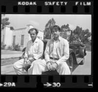 "Jack Nicholson and Warren Beatty during filming of the motion picture ""The Fortune,"" in Los Angeles, Calif., 1974"