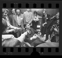 Governor-elect Jerry Brown talking the reporters at his campaign headquarters in Los Angeles, Calif., 1974