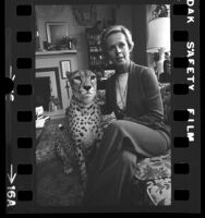 Tippi Hedren with her pet cheetah, Pharaoh in the living room of her home in Los Angeles, Calif., 1974