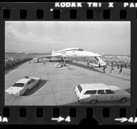British Airways Concorde on tarmac at Los Angeles International Airport, Calif., 1974