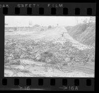 Rock and mud slide covering lanes along Palos Verdes Drive in Palos Verdes, Calif., 1974