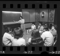 Jill Fox conducting English language class with Spanish-speaking Marriott Hotel employees in Los Angeles, Calif., 1974