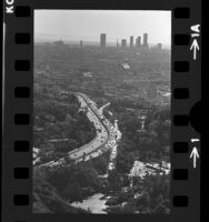 Cityscape of Hollywood and downtown Los Angeles viewed from Hollywood Freeway, Calif., 1974