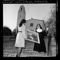 Sister Ignatia, one of Mount St. Mary's College founding members in Los Angeles, Calif., 1975