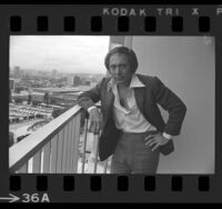 Singer Paul Anka standing on balcony in Los Angeles, Calif., 1975