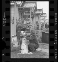 Gary Sheldon making a snowman out of hail in Venice, 1975