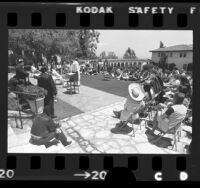 Bishop Juan Arzube conducting Cinco de Mayo Mass in courtyard of Mount St. Mary's College in Los Angeles, Calif., 1975