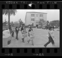 Chicano students picketing St. Roberts Hall at Loyola University in Los Angeles, Calif., 1975