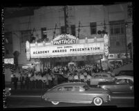 Outside the 26th Annual Academy Awards at RKO Pantages Theater in Los Angeles, Calif., 1954
