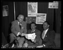 William Pitts,  Samuel Yorty and  Wilbur J. Bassett at AFL Union Industries Show in Los Angeles, Calif., 1954