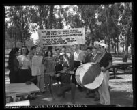 UCLA student group the Robin Hood Club, promoting academic freedom and anti-McCarthyism, Calif., circa 1954