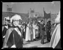 Mary's Hour devotion ceremony with Cardinal Francis McIntyre at Los Angeles Memorial Stadium, Calif., 1954