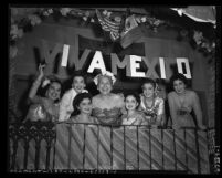 Mexican American women entertainers during Cinco de Mayo celebration in Los Angeles, 1954