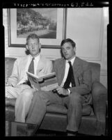 "L. Brent Bozell and William F. Buckley, Jr. seated on couch with copy of their book ""McCarthy and His Enemies"" Los Angeles, 1954"