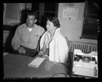 James Weiss (aka Jim Alexander) and Vivian Johnson arrested for being members of illegal abortion ring in Los Angeles, Calif., 1954