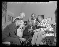 Musicians William Grant Still, L. Wolfe Gilbert, W. C. Handy, Frank Drye and Andy Razaf in Los Angeles, Calif., circa 1954