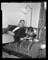 "Reporter Bill McPhillips with J. Fred Muggs, chimp star of NBC's ""Today"" television show, 1954"