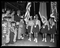 Children color guards in Moon Festival Parade, Chinatown, Los Angeles, Calif., 1954