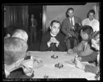 Paul Yu Pin, Catholic bishop from China talking to Los Angeles reporters during fund raising for Chinese refugees in 1939