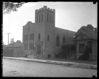 Exterior view of the Chinese Congregational Church, Los Angeles, circa 1924