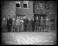 Group portrait of eleven members of the 1924 United States Olympic team from Southern California
