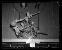 View from above basket of Los Angeles Polytechnic High School basketball game, circa 1939
