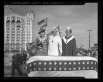 Roberta Semple, Aimee Semple McPherson, and Rheba Crawford at parade in 1935