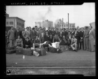 Group portrait of the University of Mexico football team upon arrival in Los Angeles, Calif., 1935
