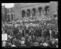 Crowd of demonstrators on steps of Los Angeles City Hall during CIO organized anti-war rally in 1940