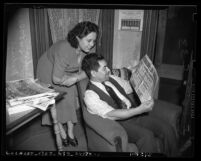 "Antonio and Gladys Medrano reading Spanish language newspaper ""La Opinion"" in Los Angeles, Calif., 1940"