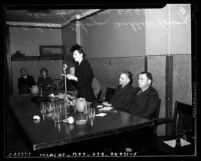 Helen Gahagan Douglas giving speech, Los Angeles, circa 1940