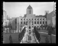 Walkway and front façade of Los Angeles Public (Central) Library's Central Library, circa 1935