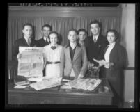 Seven members of the Veterans of Future Wars an organization of college students, Calif., 1936
