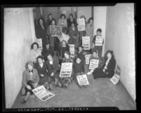 Works Projects Administration women workers in sit-down strike, Los Angeles, circa 1936