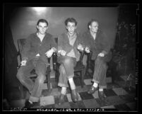 Three male juveniles arrested for burglary and assault crime ring in 1941, Los Angeles, Calif.