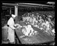 4-H club touring a Safeway Stores meat packing house in  Los Angeles, Calif., 1941