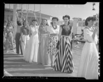 Models lined up for fashion show at opening of the Fairmont Miramar Hotel pool in 1941, Santa Monica, Calif.