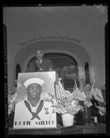Carl Johnson speaking at the 1942 convention of the NAACP in Los Angeles, 1942